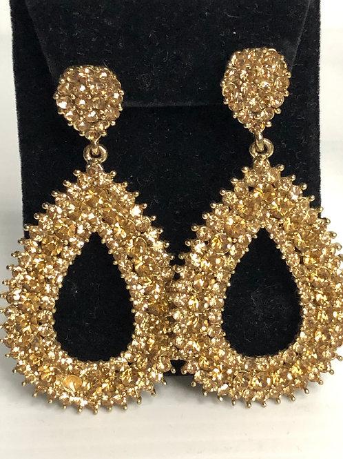 Large gold chandelier pierced earring
