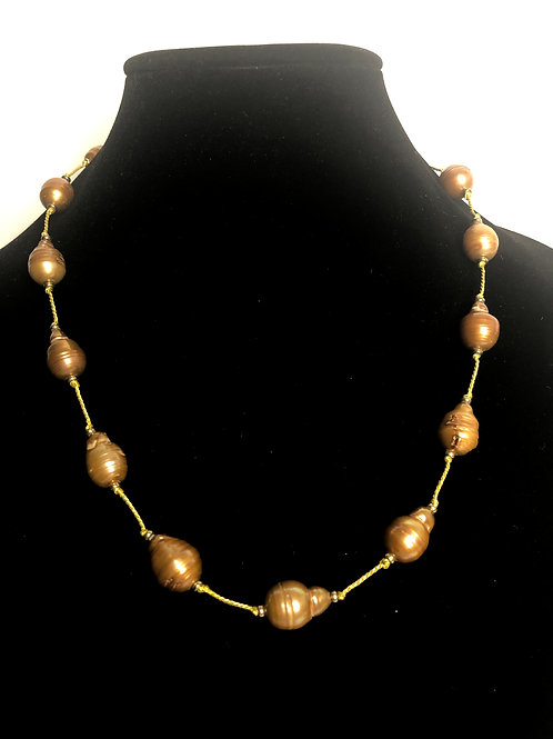 Large Brown baroque FWP in gold over sterling silver