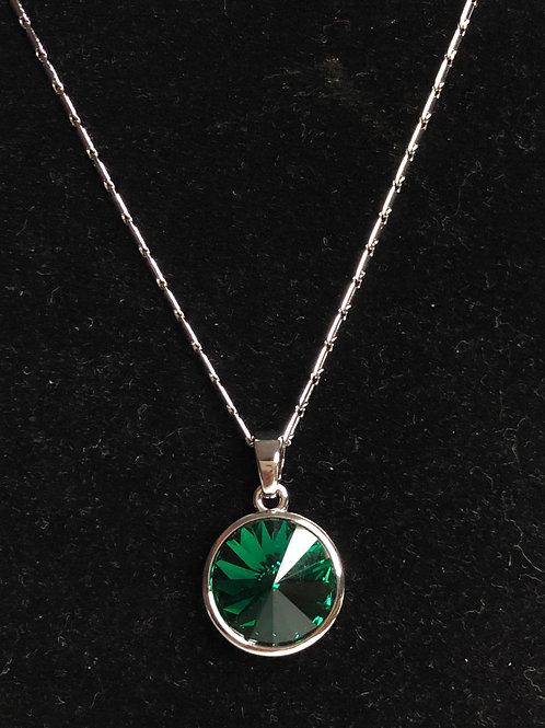 Swarovski crystal round pendant -Green