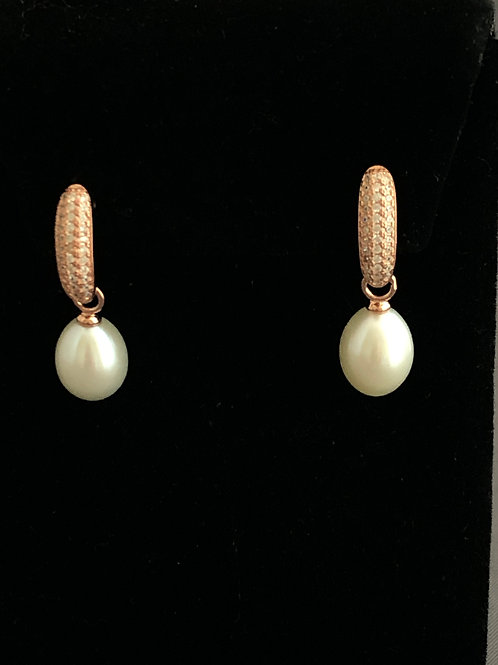 Rose Gold over Sterling Silver Fwp Pearl Earring with Swarovksi