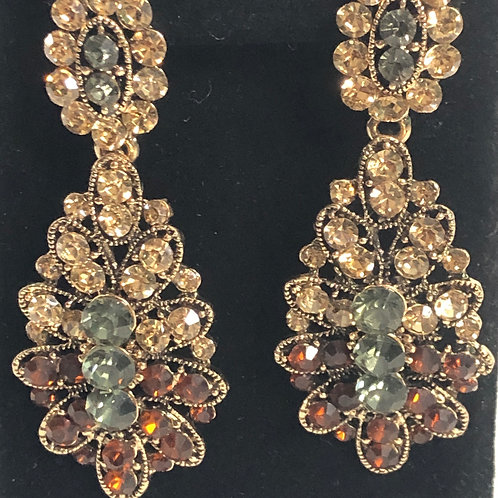 Gray and brown Austrian crystal pierced earring
