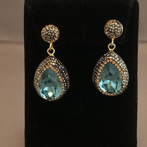 Tear drop blue green pierced earrings in Swarovski crystals