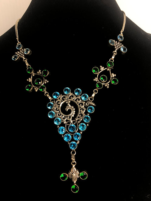 Bib necklace in all natural gemstones in sterling silver