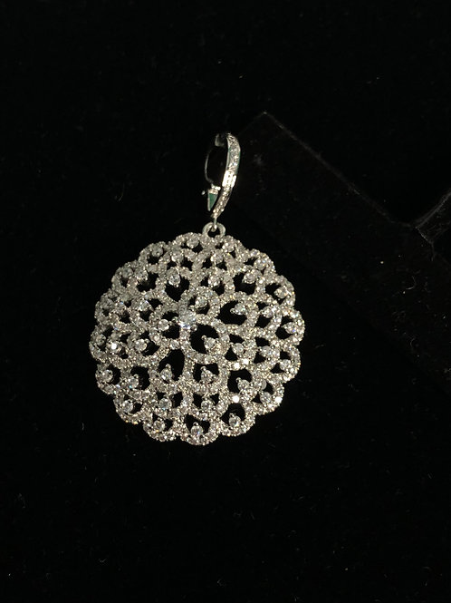 Silver flower enhancer with encrusted Austrian crystals
