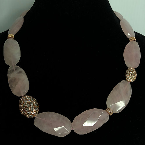 Pink Quartz large stone necklace with rose gold