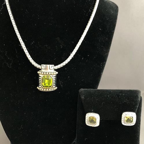 Designer detachable OLIVE GREEN pendant /earrings