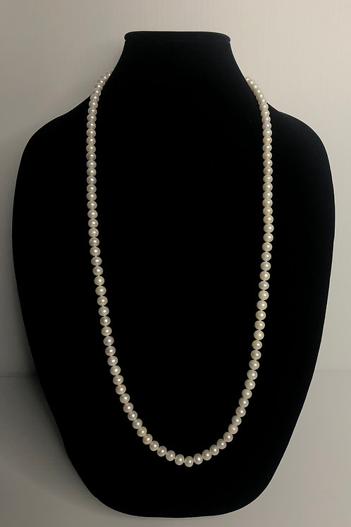 Long white FWP necklace with silver toggle clasp