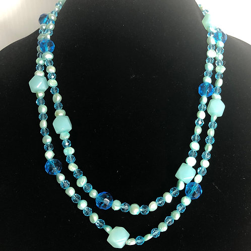 SKY BLUE Freshwater Cultured pearls and blue crystals long necklace