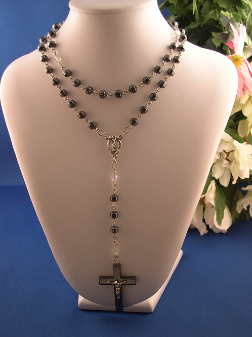 Hematite rosary with clear stones