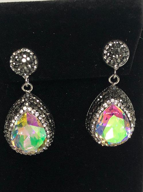 Tear drop pierced Earrings in Aurora Borealis