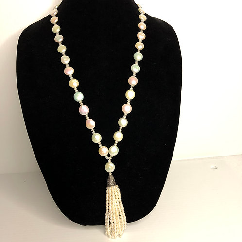 White Freshwater Cultured pearl tassel necklace