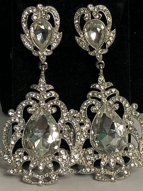 Large silver chandelier earring