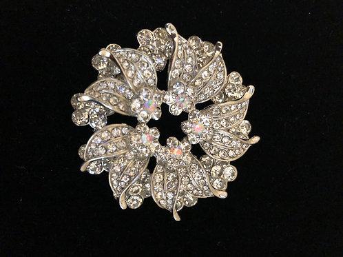 Round Austrian crystal brooch