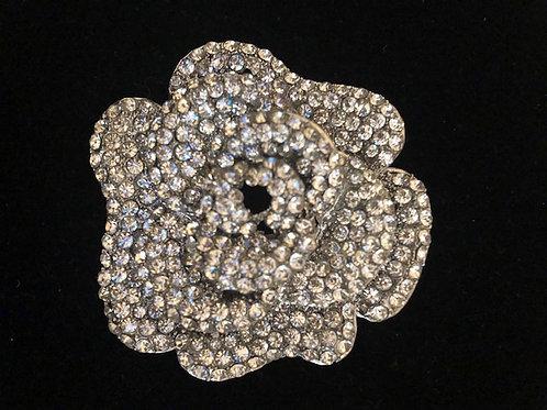 Large silver flower clear Austrian crystal brooch