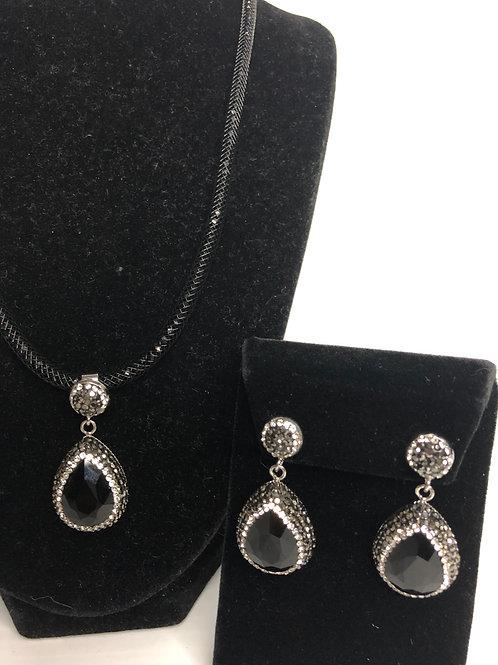 Tear drop Jet Black Pendant & Earrings