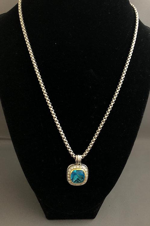 Designer look TURQUOISE BLUE square pendant