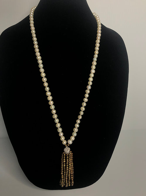 White long mm FWP necklace with brown pearl tassel necklace