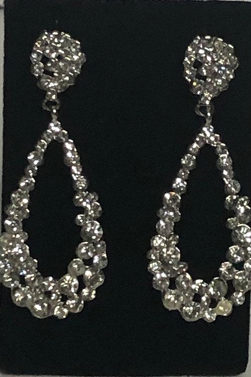 Clear tear drop crystal earring