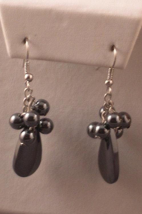 Hematite double drop pierced earrings