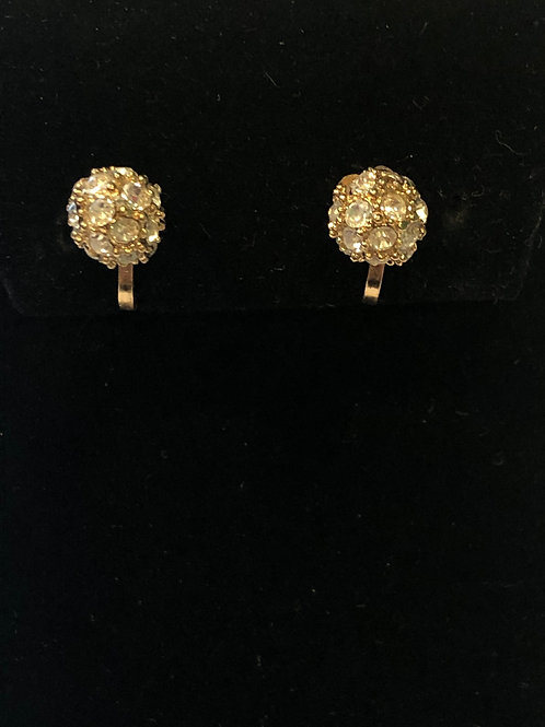 Clear Austrian crystals in gold clip on earring