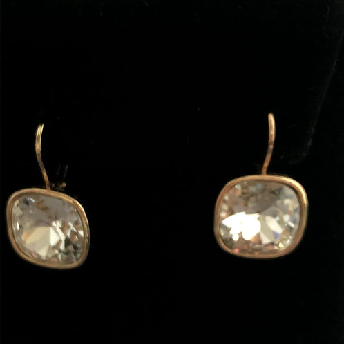 Swarovski crystal lever back earrings - GOLD WITH CLEAR