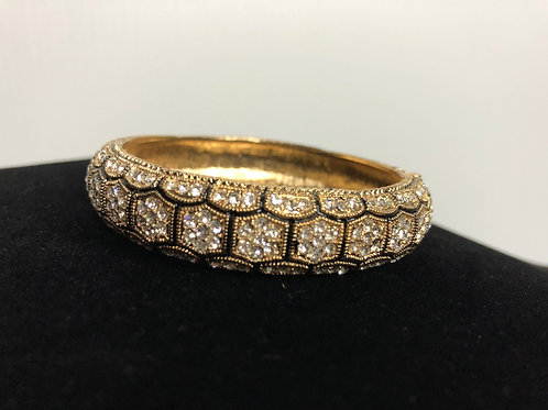 Gold and black Austrian checked crystal bracelet