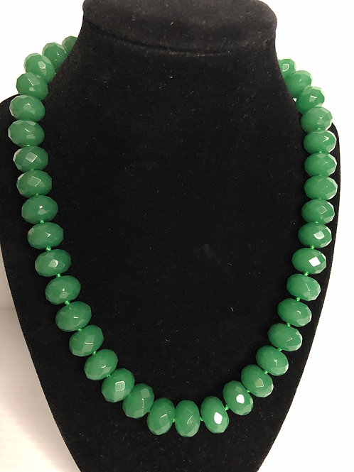 Green jade barreled necklace with lobster clasp