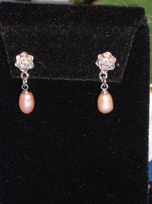 Rose flower pierced earring with Freshwater dangle drop