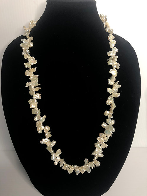 Long white Keshi FWP pearl necklace with s/s clasp