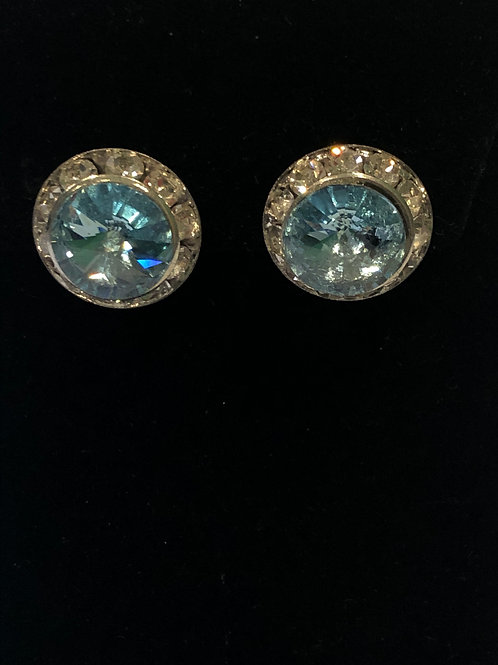 Sky blue Austrian crystal clip on earring