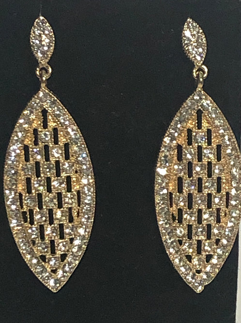 Gold tear drop pierced earring with clear crystals