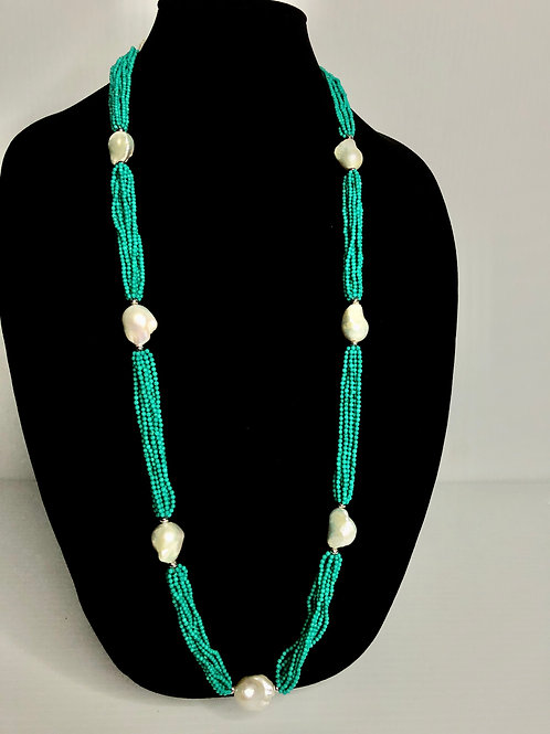 Multi strand Turquoise beads with large baroque white Freshwater Cultured pearl