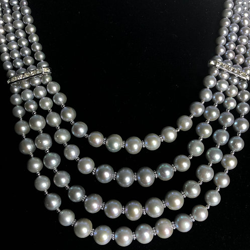 Light gray Freshwater Cultured 4 strand pearl  necklace