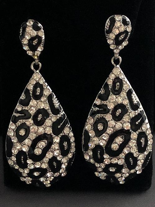 Black and white animal print Austrian crystal drop pierced earring