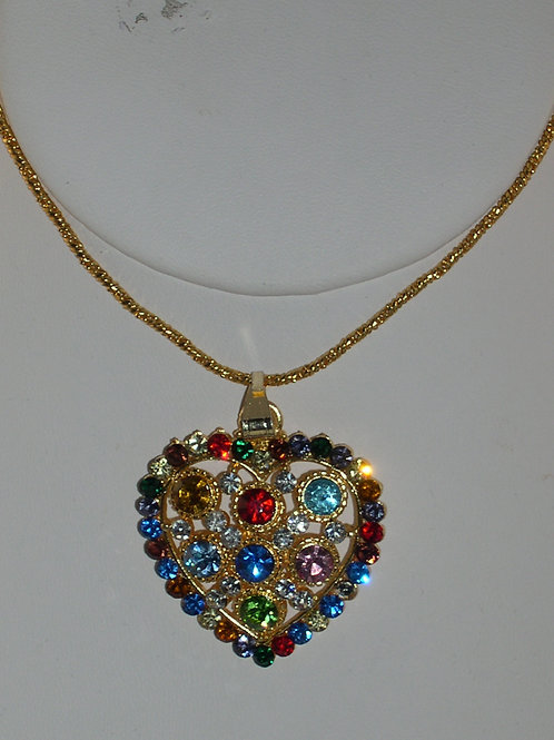 Gold necklace with multi-color Austrian crystal heart pendant