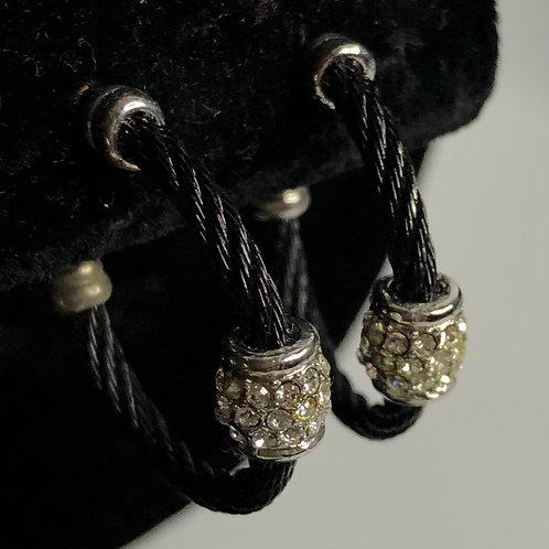 Medium sized Designer black stainless steel hoop earring