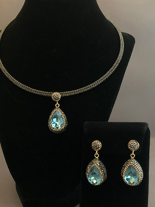 Black Austrian crystal choker Pendant & Earrings