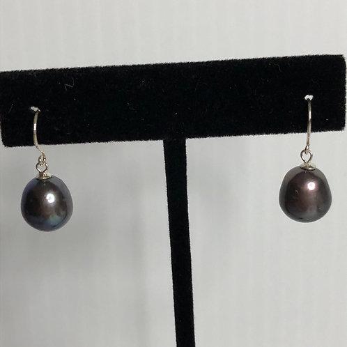 10-11 MM Baroque FWP sterling silver lever back earrings