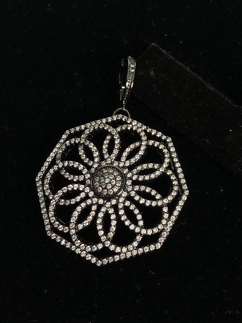 Silver hexagonal enhancer with encrusted Austrian crystals