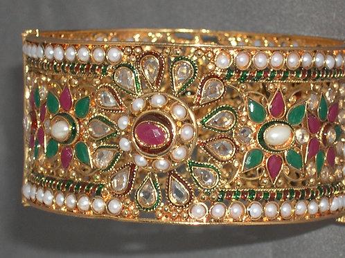 Indian bracelet with rubies, jade, pearls