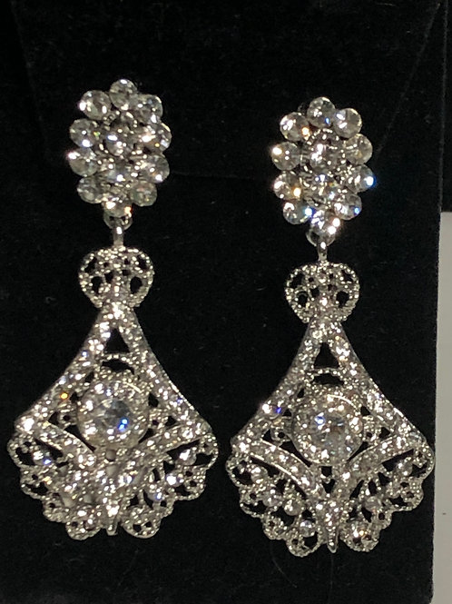 Silver chandelier earring with intricate detail