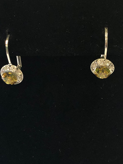 Small yellow lever back Austrian crystal earrings