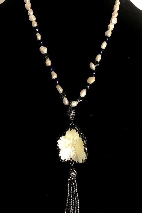 Long white FWP detachable tassel necklace with blue lapiz