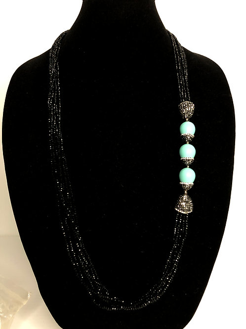 Multi strand black Czech crystals with Turquoise oval shells necklace