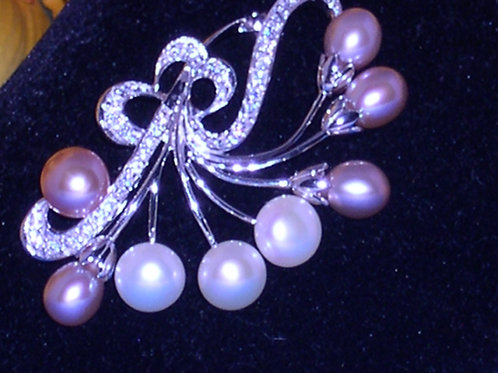Sterling silver Freshwater cultured pearl brooch