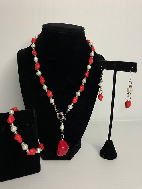 3 pc set - Red Turquoise in stainless steel with white FWP