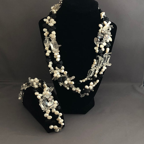 Multi-strand SET in white Freshwater pearls and black crystals