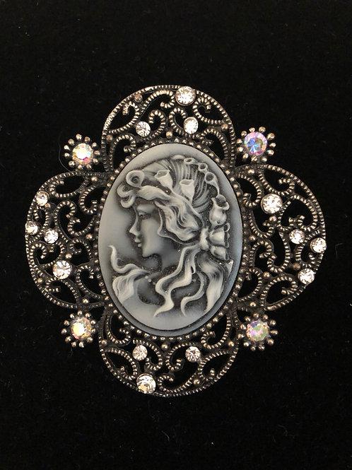 Gray cameo brooch