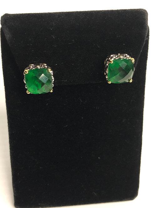 Designer look GREENCubic Zircon lever back earrings