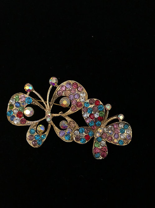 Multi colored double Austrian crystal butterfly brooch